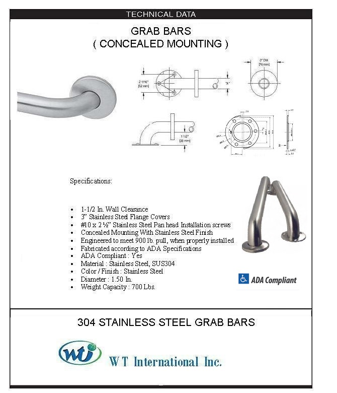 ARISTA® Bath Distribution - ARISTA® 1.5 Safety Grab Bar