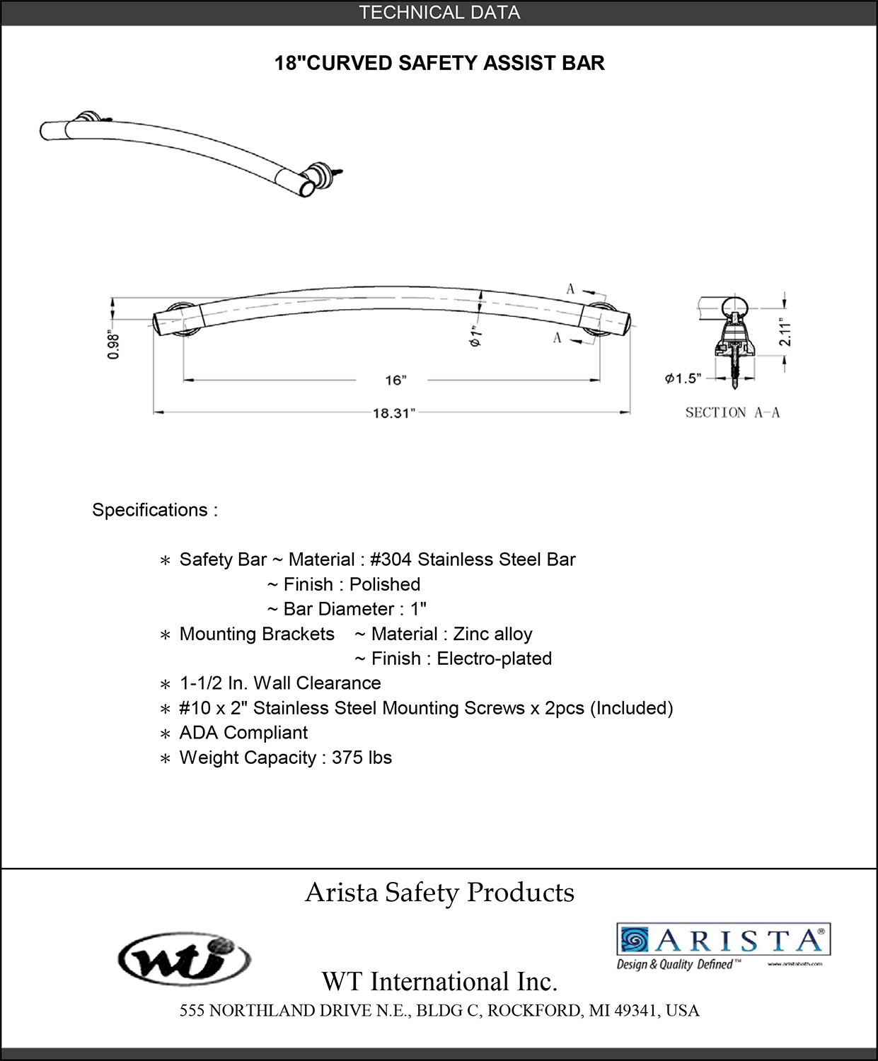ARISTA® Bath Distribution - ARISTA® Decorative Curved Safety ...