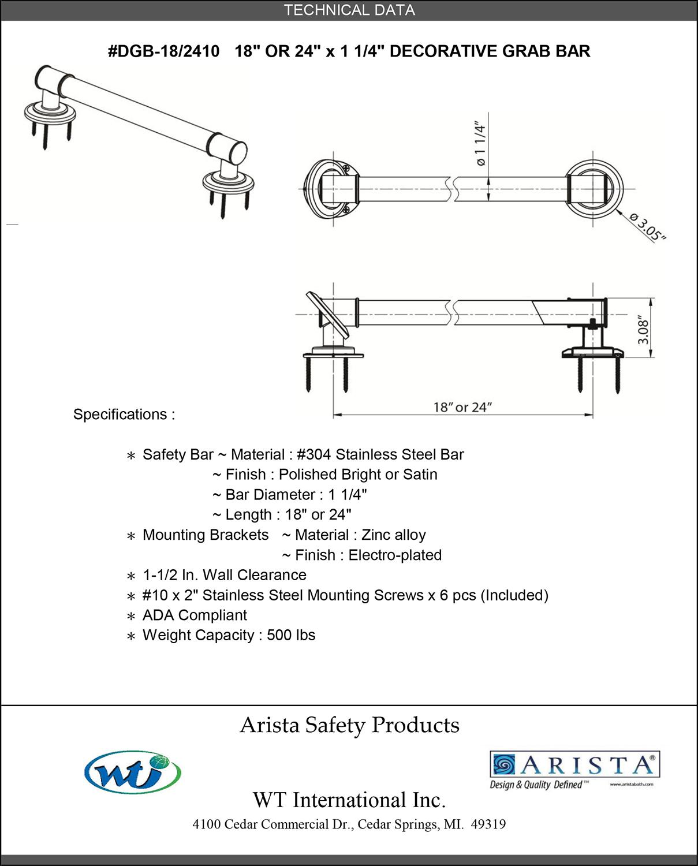 Decorative Grab Bar style 1 | ARISTA® Bath Distribution